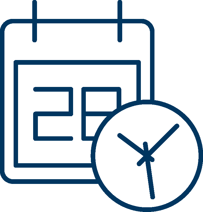 icon of calendar and clock for mark your career calendar