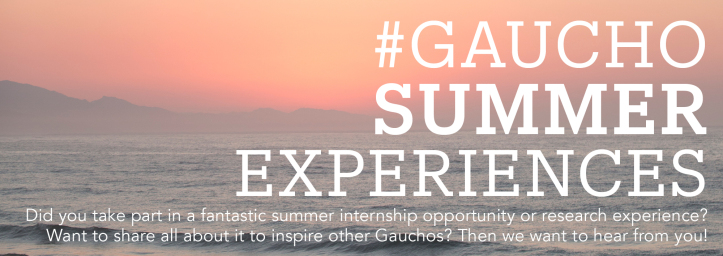 illustration of #GauchoSummerExperiences - Did you take part in a fantastic summer internship opportunity or research experience? Want to share all about it to inspire other Gauchos? Then we want to hear from you!