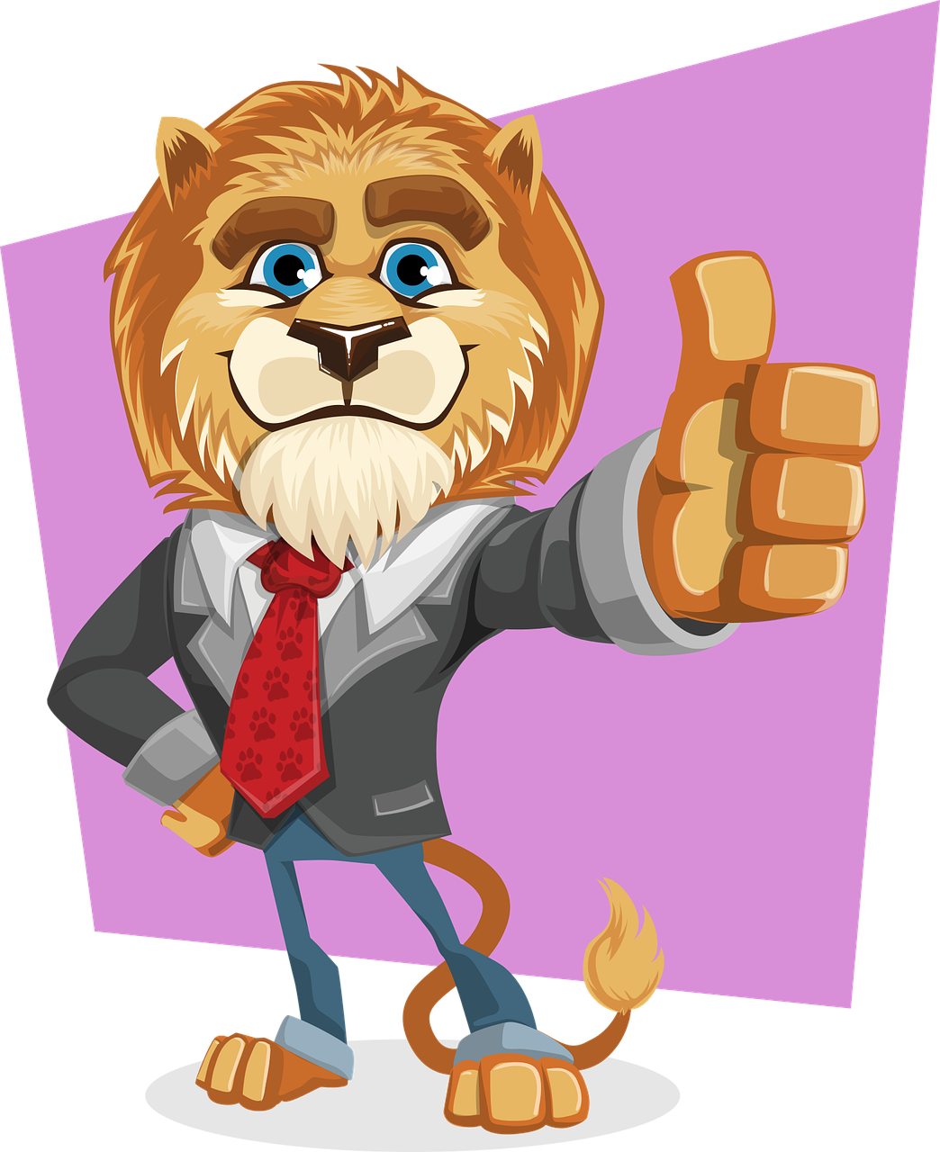 illustration of lion in professional attire