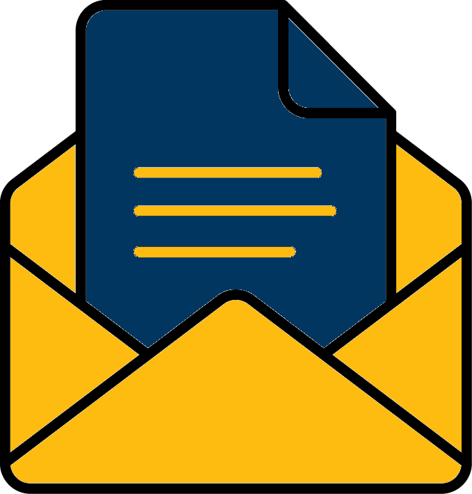 icon of document in envelope for step 1: submit document