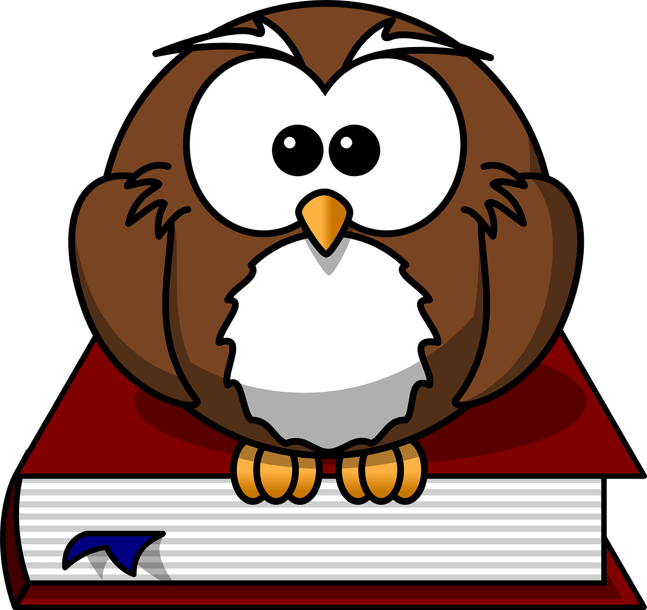 Owl sitting on book