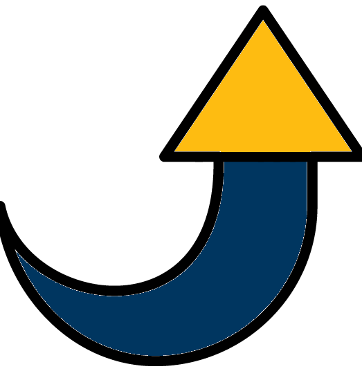icon of upward arrow for step 3: level up