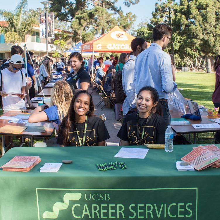 UCSB career services table for student jobs at on-campus job fair